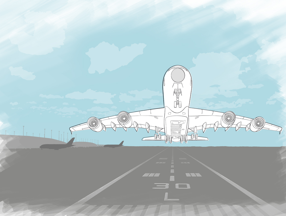 Illustration of A380 Emirates starting