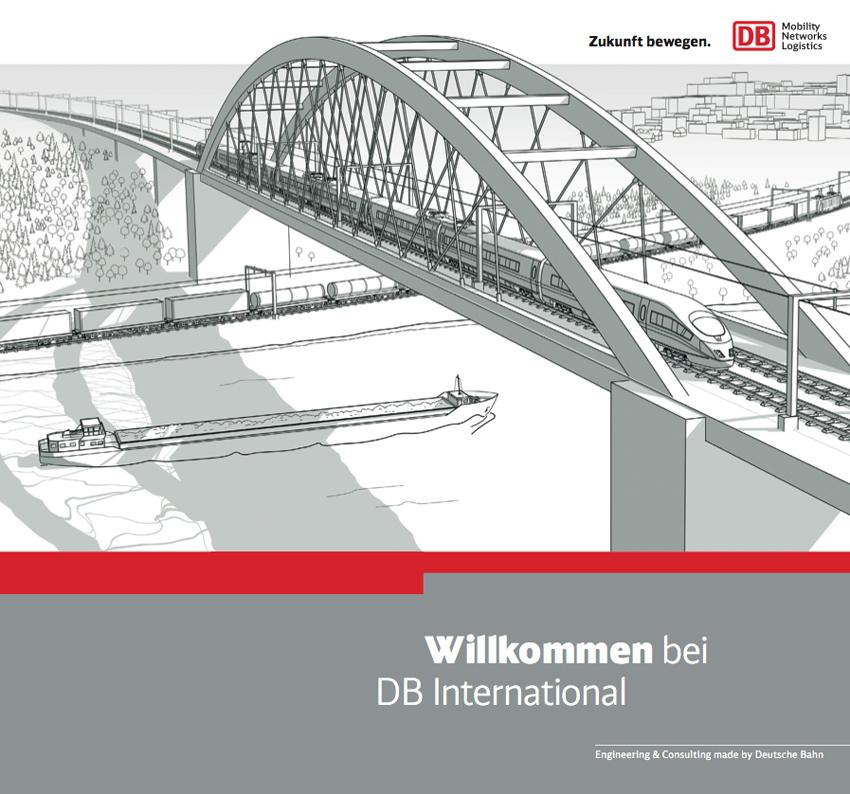 Illustration Gleisbrücke über Fluss