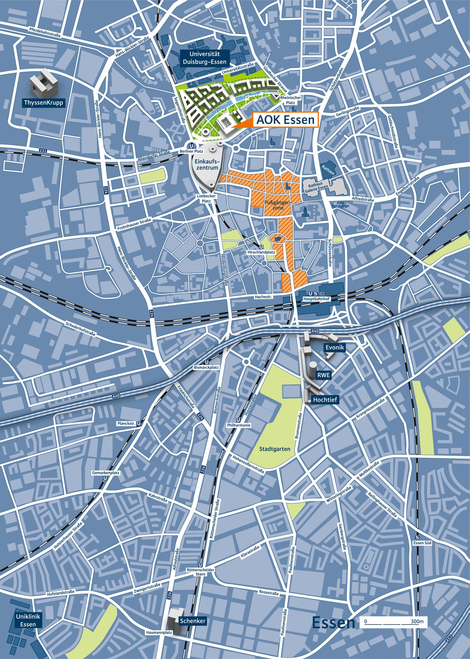 Infografik AOK Stadtplan Essen