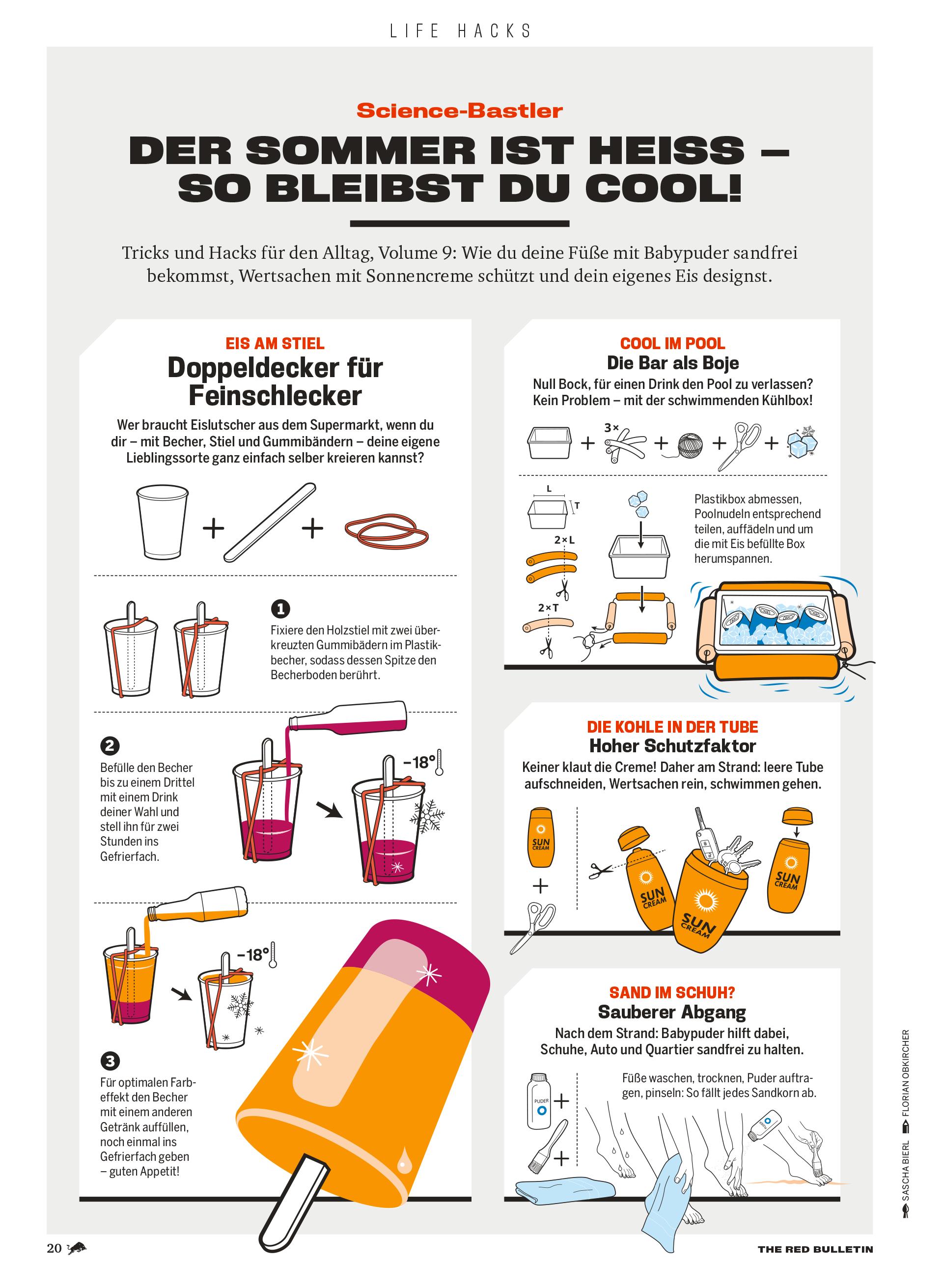 Illustrationen Red Bulletin Life Hacks Sommer Infografik