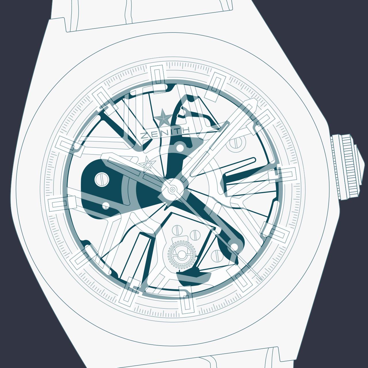 Illustration neuer mechanischer Antrieb für Uhren.